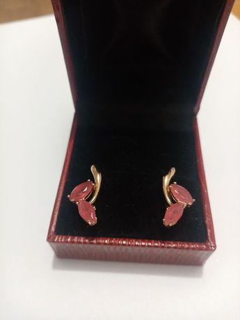Kolczyki pozłacane prezent kobieta różowe Stal chirurgiczna antyalerg