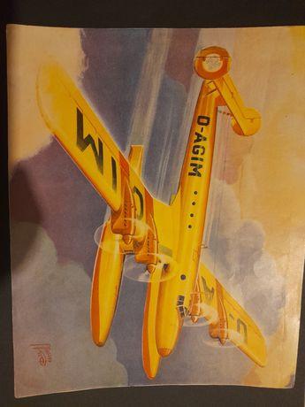 Gravura 20cm de aviao da segunda guerra mundial