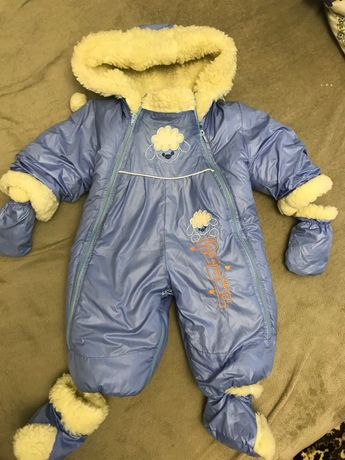 Детский комбинезон-трансформер на овчине