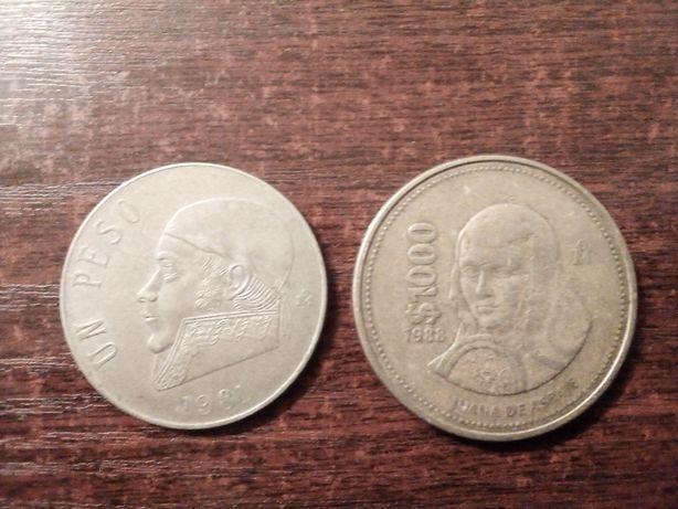 Moneta 1 peso 1981 i 1000 peso 1988 Meksyk