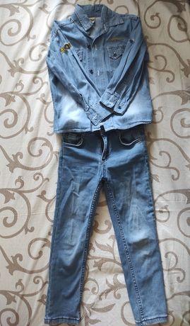 Детская рубашка и джинсы на мальчика