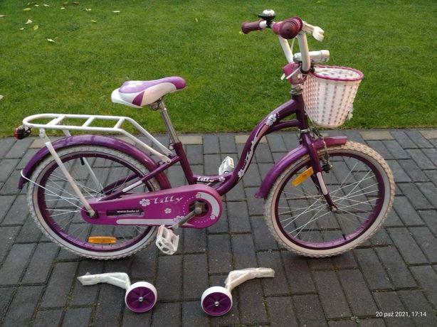 Rower rowerek dziecięcy dla dziewczynki dziecka kółka boczne bagażnik