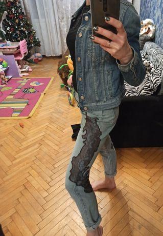 Фирменные джинсы бойфренды Котон S