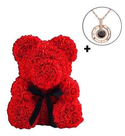 """Мишка из роз""""Teddy Bear"""" 25 см+Кулон """"Я тебя люблю"""""""