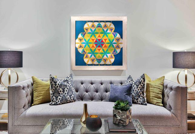 Piękna wielobarwna mandala - metaliczne kolory - 70 x 70 cm. Z ramą.