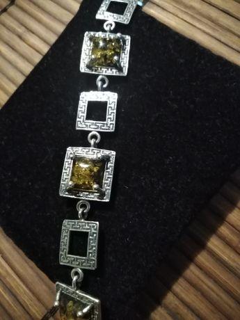 Bransoletka srebrna- bursztyn 925