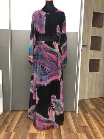 Sukienka długa czarna/multikolor, rozmiar over size