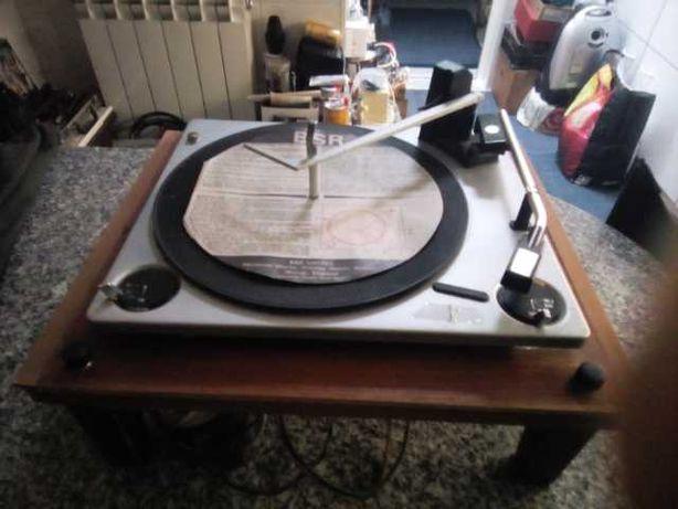 Gira discos antigo madeira bsr