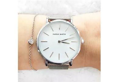 LIKWIDACJA SKLEPU Zegarek damski srebrny biały na bransolecie