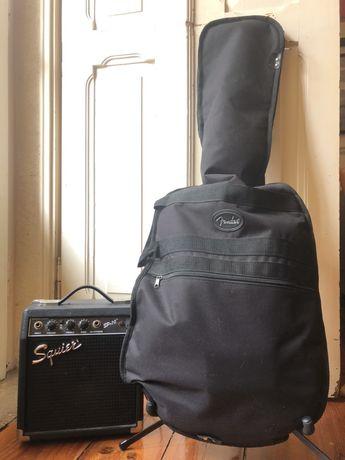 Guitarra Fender Squier + amplificador + tripé
