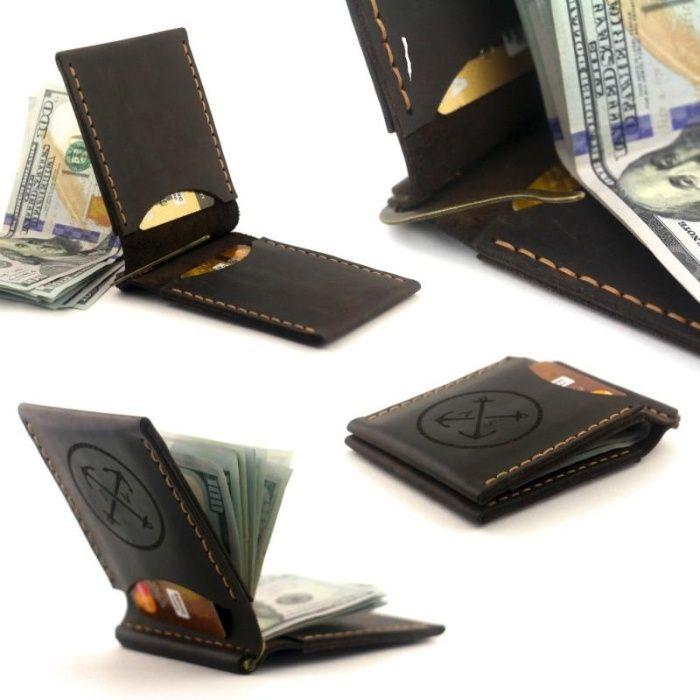 Зажим для денег / купюр из натуральной кожи OldSalt - коричневый Киев - изображение 1
