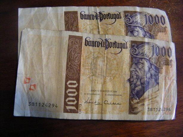 Duas notas de 1000 escudos