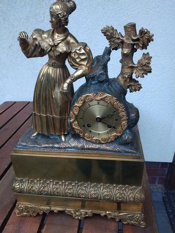 Zegar kominkowy, antyk brąz złocony