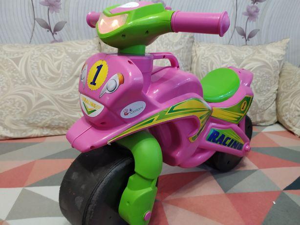 Мотоцикл детский розовый сирена