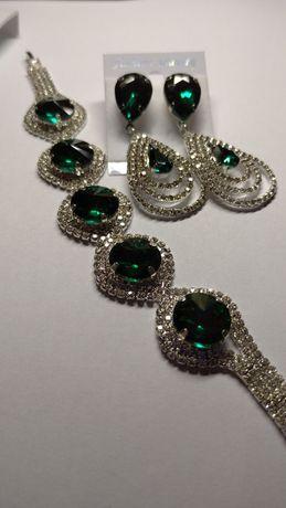 Сережки та браслет(ізумрудний колір)