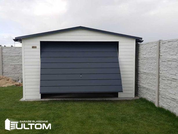 Garaż blaszany 4x6 pozioma blacha w kolorze dwuspadowy brama uchylna