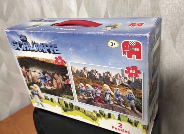 Пазлы Jumbo Смурфики 35 и 50 в коробке-чемоданчике