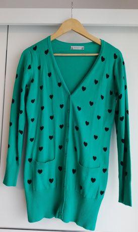 Romantyczny szmaragdowy rozpinany sweter/kardigan L/Xl