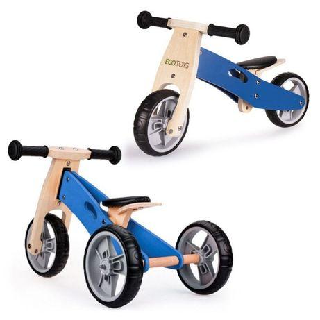 Rowerek biegowy trójkołowy drewniany 2w1 Blue