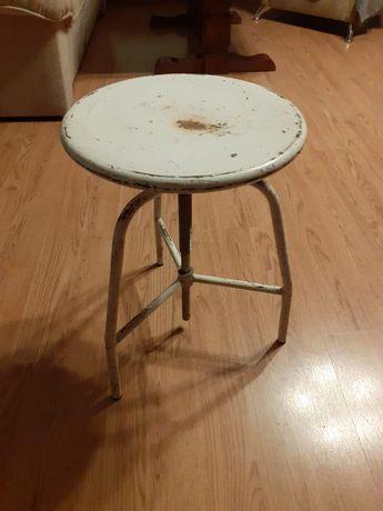 Stołek krzesło taboret PRL metal