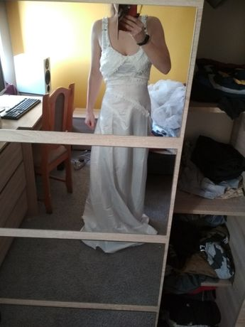 Sukienka Ślub biała prosta S/M OKAZJA