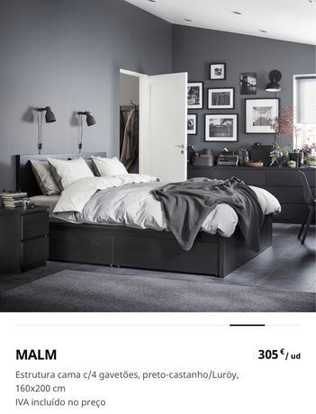 Cama casal Malm Ikea preta