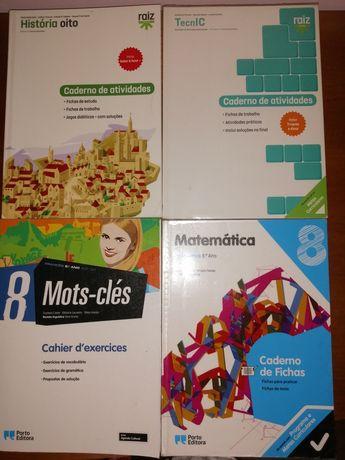 Cadernos de atividades 8°ano de história,tecnic, francês e matemática