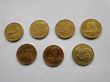 Monety kolekcjonerskie 2zl rok 2002  (7szt)