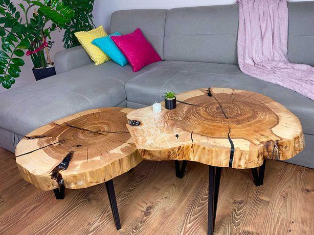 Stolik kawowy ława z plastra drewna Zestaw 2w1