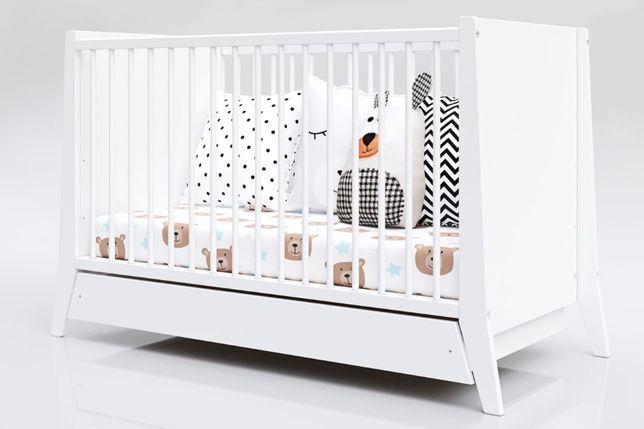Białe Łóżeczko niemowlęce z szufladą 2w1 COSMO 120x60
