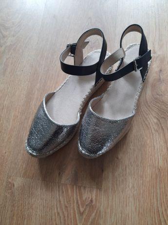 Srebrne espadryle sandały Reserved 39