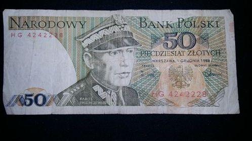 Banknot 50zł z PRL z 1988r