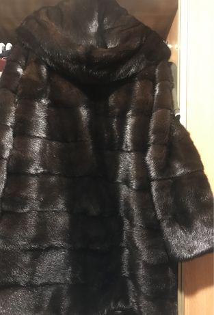 Шуба норковая  кокон с капюшоном р 48-50