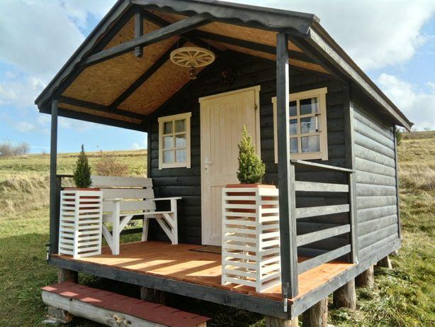 Domek z półbala drewniany ogrodowy letniskowy altana domki