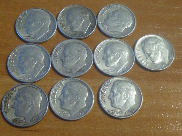 10 x one dime Rooeswelt Tylko srebrne do 1964 r srebro pr900