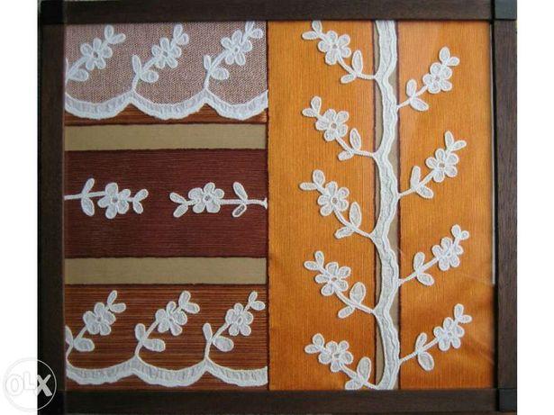 Quadros (40x34cm) Tule com aplicações de tecido, moldura madeira vidro