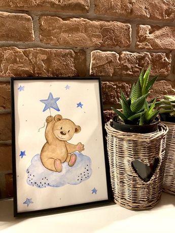 Plakaty dla dzieci A4 + RAMKA(+personalizacja)-ręcznie malowane,