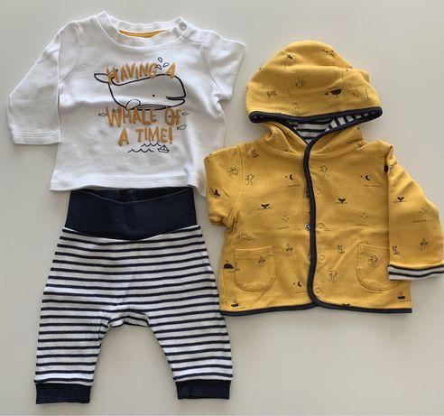 Conjunto camisola, calças, casaco bebe
