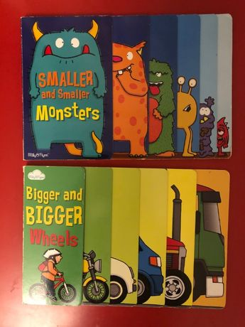 "Książki po angielsku ""Smaller ... Monsters"" ""Bigger ... Wheels"""