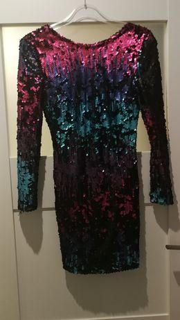 Sukienka cekinowa kolorowa mini bal impreza wesele jak