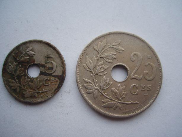 5 centymów 1925 i 25 centymów 1928 skrętki