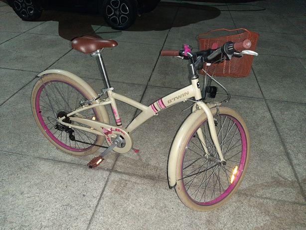 Bicicleta menina roda 24 com cesto