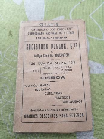 Calendário de jogos campeonato de futebol de 1954 /1955