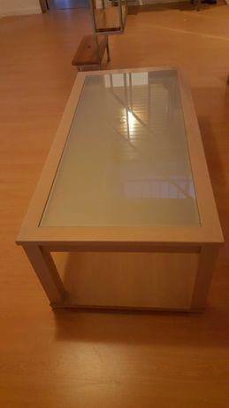 Mesa de centro madeira e vidro fosco
