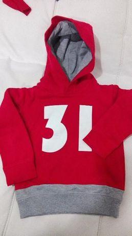 Sweat Zara Kids c/ capuz Menino Vermelha 3-4 Anos