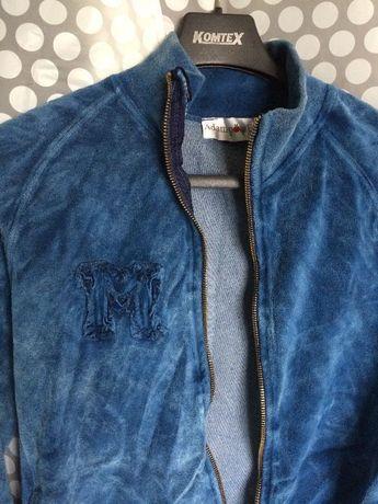 Niebieska zamszowa bluza XS zamek zip z naszywkami