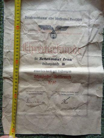 documento original alemão da segunda Guerra Mundial