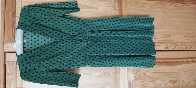 Sukienka mini, kopertowa, zielona w groszki, ASOS 36