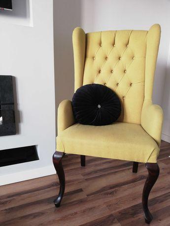 Krzesło fotel pikowany glamour ludwik na giętych nogach