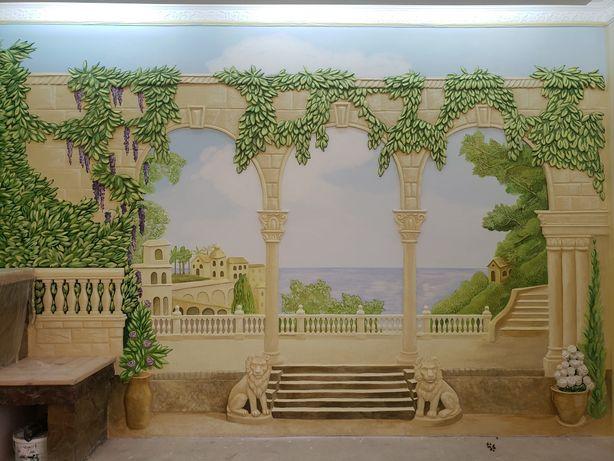 Роспись стен, художественный декор, скульптура, рельеф, коллаж